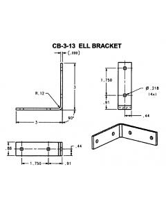 """ELL Corner Brace 3""""X3""""X7/8"""" Raw Steel - JH-CB-3-13"""