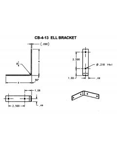 "ELL Corner Brace 4""X4""X7/8"" Zinc Plated Steel - JH-CB-4-13-ZP"