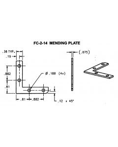 "Flat L Shaped Mending Plate 2""X2""X3/8"" Zinc Plated Steel - JH-FC-2-14-ZP"