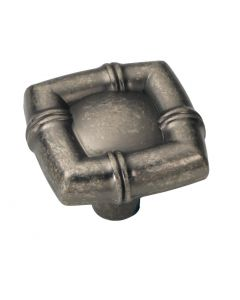 """Black Nickel Vibed 1-1/4"""" [31.75MM] Square Knob by Hickory Hardware sold in Each - P3443-BNV"""
