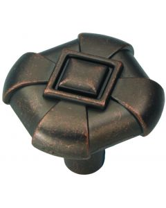 """Dark Antique Copper 1-1/8"""" [28.58MM] Square Knob by Hickory Hardware sold in Each - P3455-DAC"""