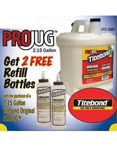 Franklin International Titebond Original Wood Glue 2.15 Gallon ProJug  With Refillable Bottles Translucent Aliphatic Resin Emulsion