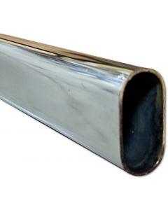 8' Chrome Steel Closet Rod Oval 15MMx30MM