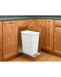 30 Quart Pull-Out Waste Container With Full Ext. Slides White