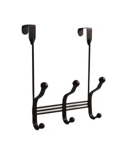 """Bronze 7-7/8"""" [200.00MM] Over-The-Door 3-Hook Rail by Hickory Hardware sold in Each - S077541-BRZ"""